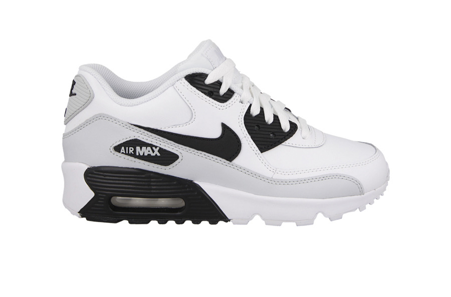 7c8d82b83a07 Nike Air Max 90 GS Leather White Cool Grey Womens Shoes