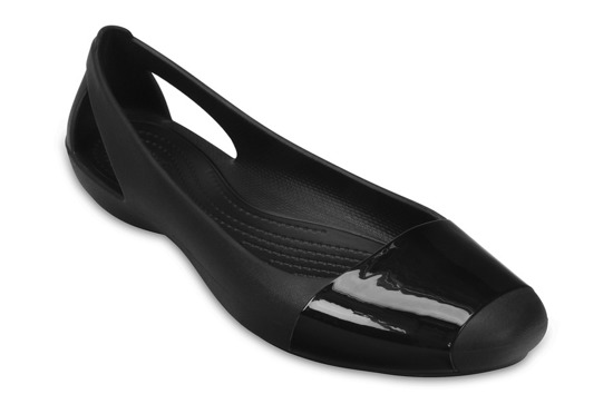 WOMEN'S SHOES CROCS SIENNA SHINY FLAT 203301 BLACK