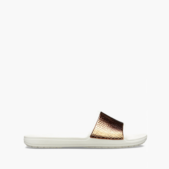 Klapki Crocs Sloane Metal Text Slide 205737 BRONZE